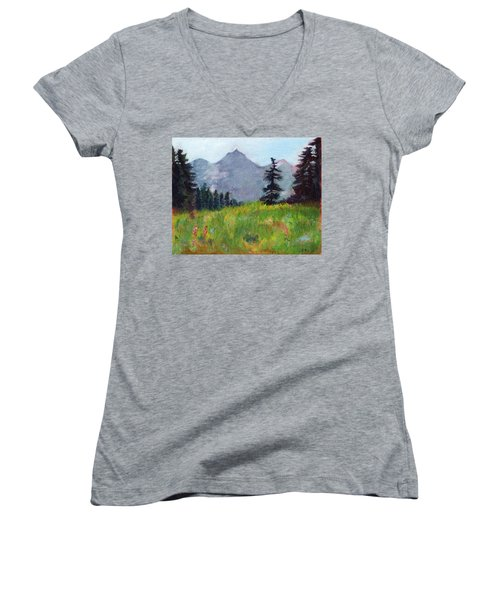 Mountain View Women's V-Neck T-Shirt (Junior Cut) by C Sitton