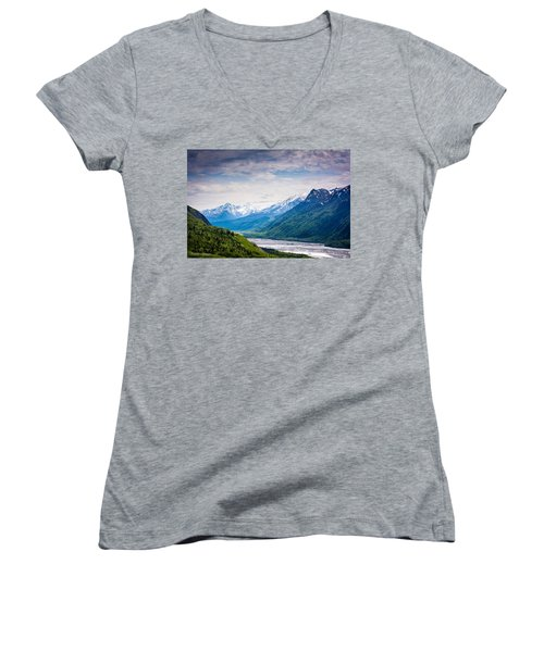 Mountains Along Seward Highway Women's V-Neck (Athletic Fit)