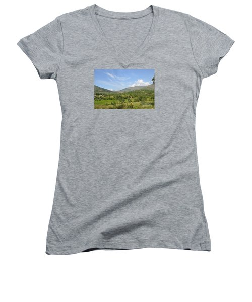 Women's V-Neck T-Shirt (Junior Cut) featuring the photograph Mountains Sky And Clouds Swat Valley Pakistan by Imran Ahmed