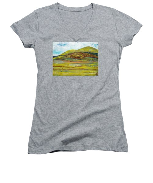 Women's V-Neck T-Shirt (Junior Cut) featuring the painting Mountains  by Reina Resto