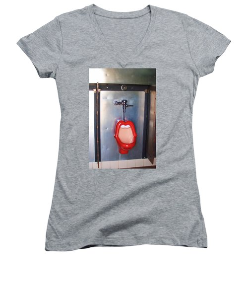 Mouth Urinal Two Women's V-Neck T-Shirt (Junior Cut) by Cathy Anderson