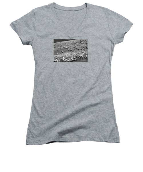 Women's V-Neck T-Shirt (Junior Cut) featuring the photograph Moving Hillside by Nareeta Martin