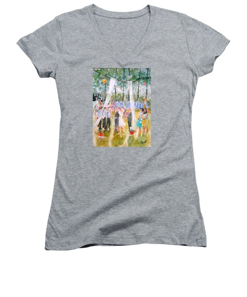 Mr. And Mrs. Matt Parker Women's V-Neck T-Shirt (Junior Cut) by Gertrude Palmer