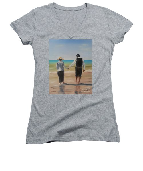Women's V-Neck T-Shirt (Junior Cut) featuring the painting Mr. Carson And Mrs. Hughes by Bev Conover