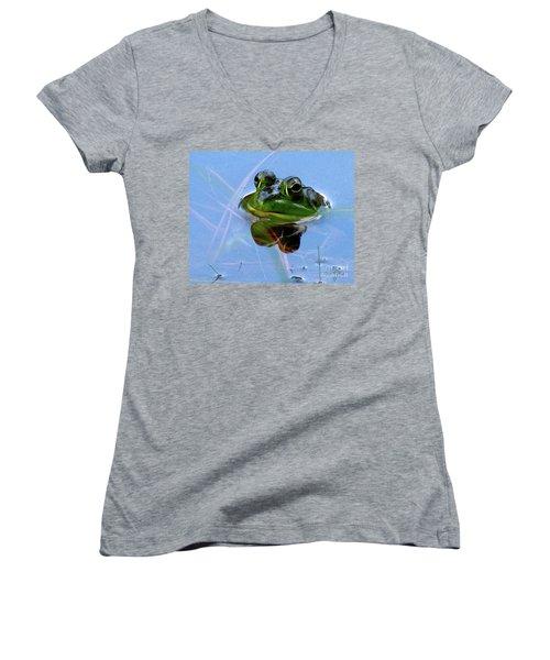 Mr. Frog Women's V-Neck (Athletic Fit)