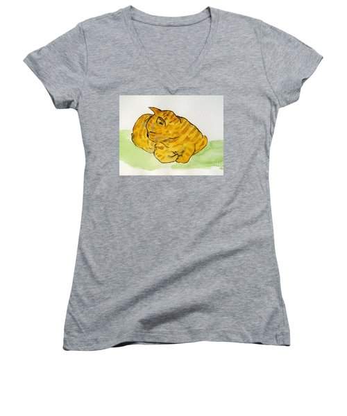 Women's V-Neck T-Shirt (Junior Cut) featuring the painting Mr. Yellow by Reina Resto