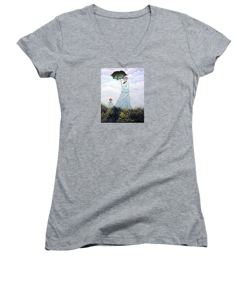Mrs. Monet And Son Women's V-Neck T-Shirt (Junior Cut) by Fran Brooks