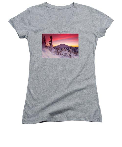 Mt. Bachelor Winter Twilight Women's V-Neck T-Shirt