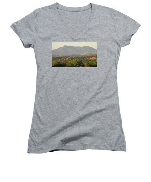Women's V-Neck T-Shirt (Junior Cut) featuring the photograph Mt. Cali by Shawn Marlow