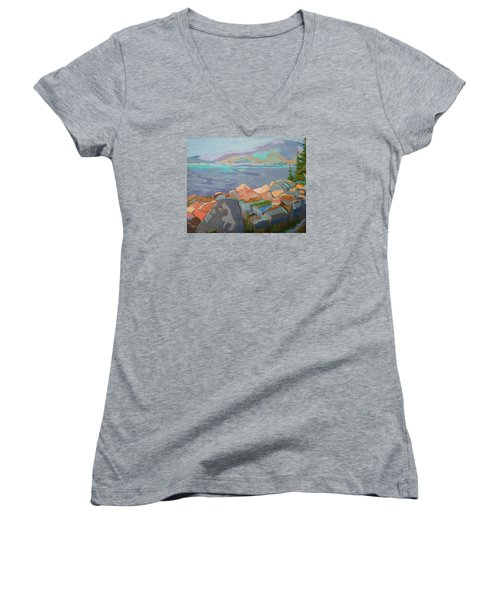 Women's V-Neck T-Shirt (Junior Cut) featuring the painting Mt. Desert From Schoodic Point by Francine Frank