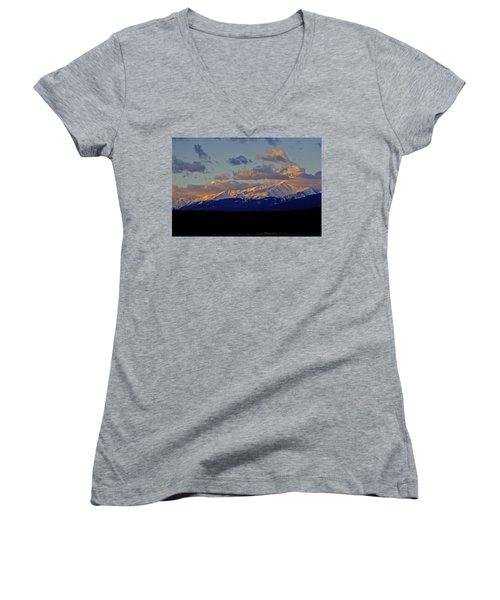 Mt Elbert Sunrise Women's V-Neck T-Shirt (Junior Cut) by Jeremy Rhoades
