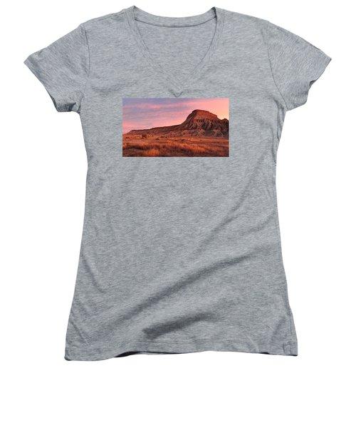 Women's V-Neck T-Shirt (Junior Cut) featuring the photograph Mt Garfield Sunrise by Ronda Kimbrow