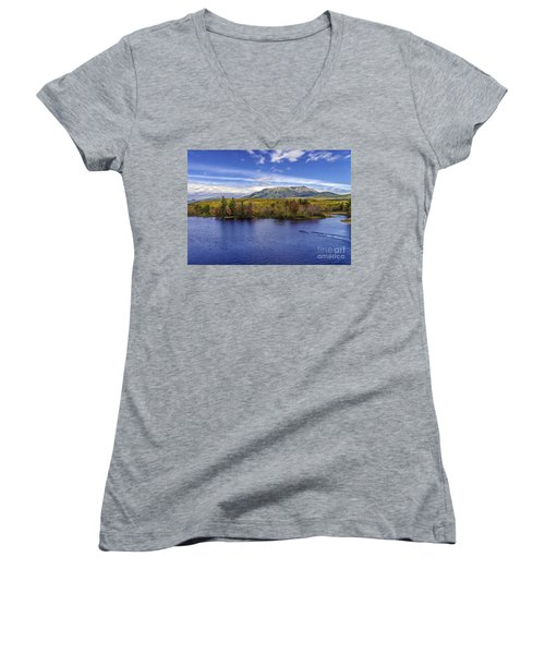 Mt Katahdin Hdr Women's V-Neck T-Shirt