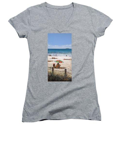 Mt Maunganui Beach 090209 Women's V-Neck T-Shirt (Junior Cut) by Sylvia Kula