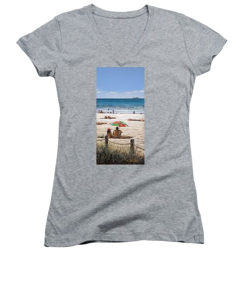 Mt Maunganui Beach 090209 Women's V-Neck (Athletic Fit)