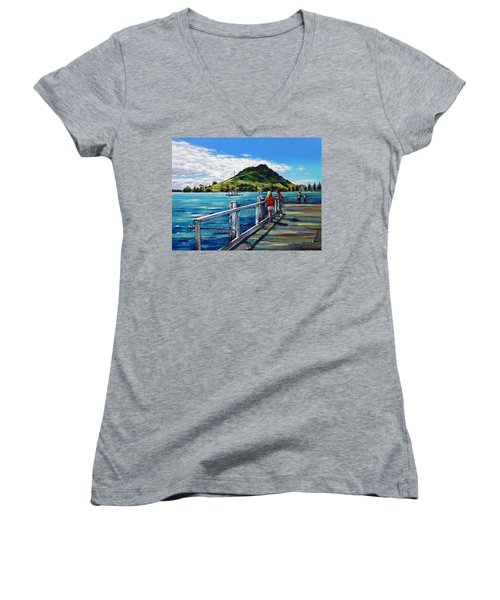 Mt Maunganui Pier 140114 Women's V-Neck