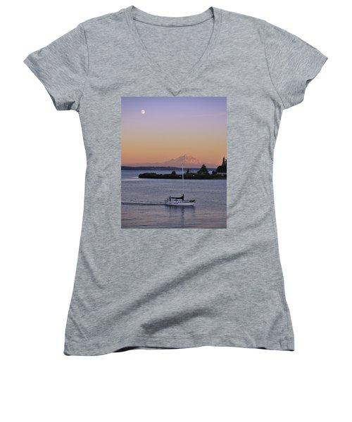 Mt. Rainier Afterglow Women's V-Neck T-Shirt (Junior Cut) by Adam Romanowicz