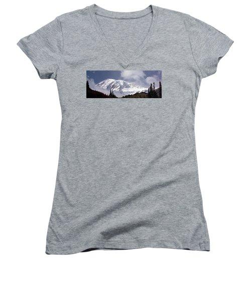 Women's V-Neck T-Shirt (Junior Cut) featuring the photograph Mt Rainier  by Greg Reed