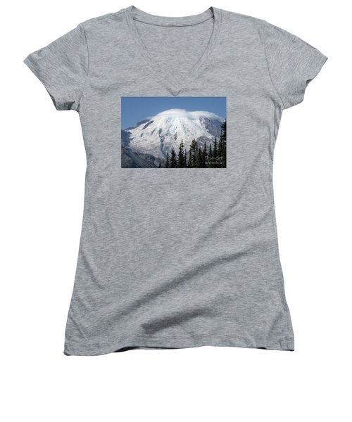 Mt. Rainier In August 2 Women's V-Neck T-Shirt (Junior Cut) by Chalet Roome-Rigdon