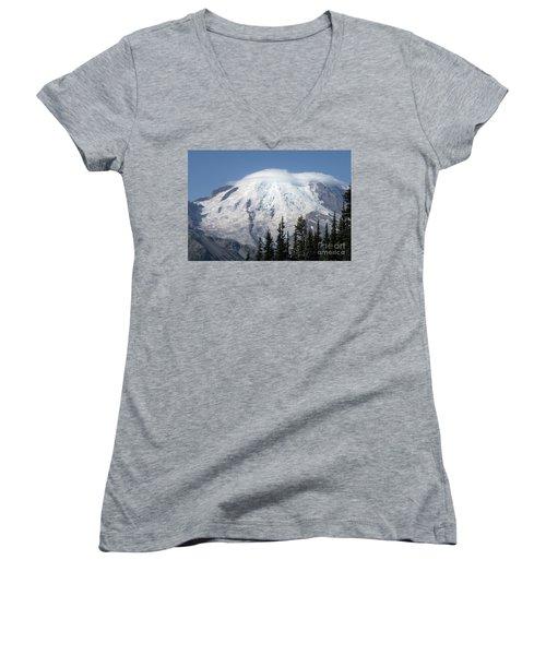 Mt. Rainier In August 2 Women's V-Neck T-Shirt (Junior Cut)