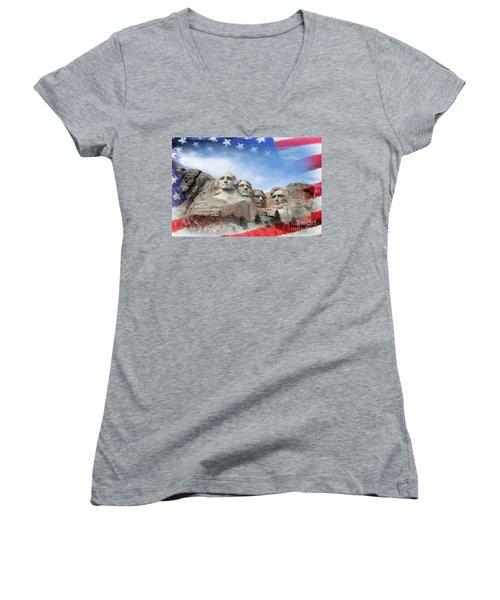 Mt Rushmore Flag Frame Women's V-Neck T-Shirt