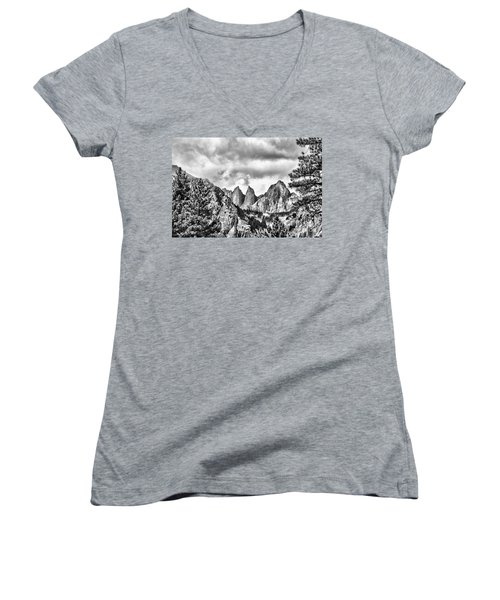 Mt. Whitney Women's V-Neck T-Shirt (Junior Cut) by Peggy Hughes