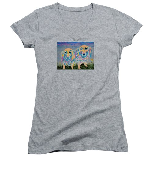 Women's V-Neck T-Shirt (Junior Cut) featuring the painting Mugi And Tatami by Kathleen Sartoris