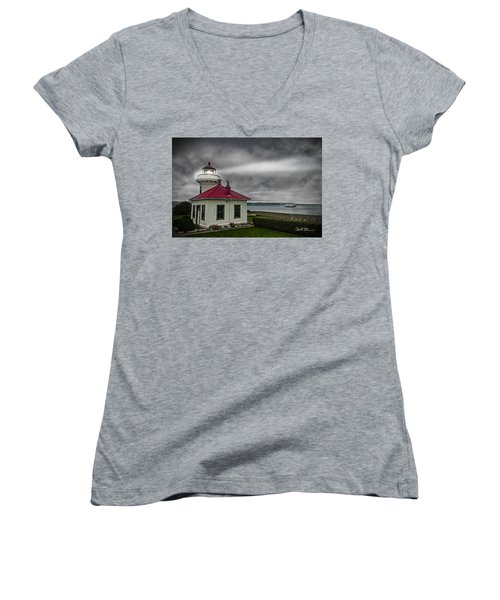 Mukilteo Lighthouse Women's V-Neck T-Shirt (Junior Cut)