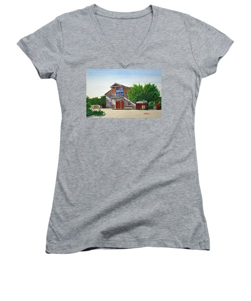 Murrietas Well Winery Women's V-Neck T-Shirt (Junior Cut) by Mike Robles