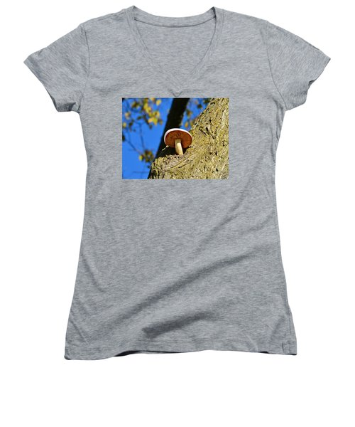 Women's V-Neck T-Shirt (Junior Cut) featuring the photograph Mushroom In A Tree by Ally  White