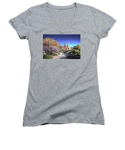 Women's V-Neck featuring the photograph Mushroom Rock by Lynn Geoffroy