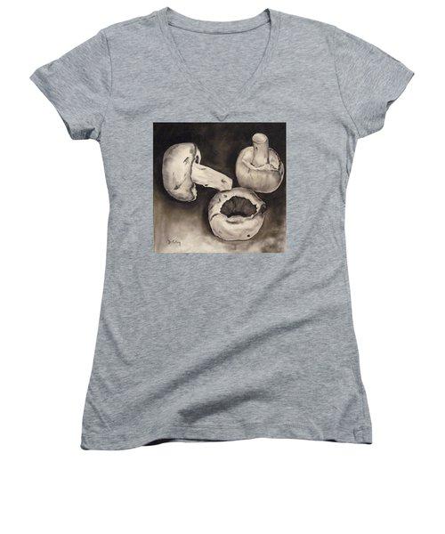 Women's V-Neck T-Shirt (Junior Cut) featuring the painting Mushrooms by Donna Tuten