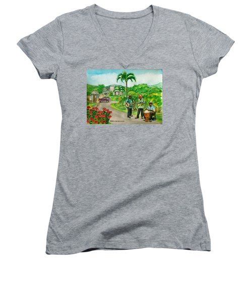 Musicians On Island Of Grenada Women's V-Neck