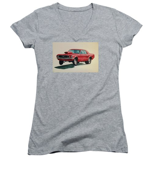Women's V-Neck T-Shirt (Junior Cut) featuring the painting Mustang Launch by Stacy C Bottoms