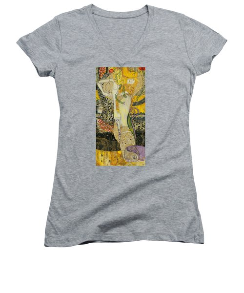 My Acrylic Painting As An Interpretation Of The Famous Artwork Of Gustav Klimt - Water Serpents I Women's V-Neck T-Shirt (Junior Cut) by Elena Yakubovich