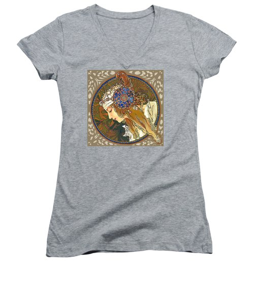 My Acrylic Painting As Interpretation Of Alphonse Mucha- Byzantine Head. The Blonde. Diagonal Frame. Women's V-Neck T-Shirt (Junior Cut) by Elena Yakubovich