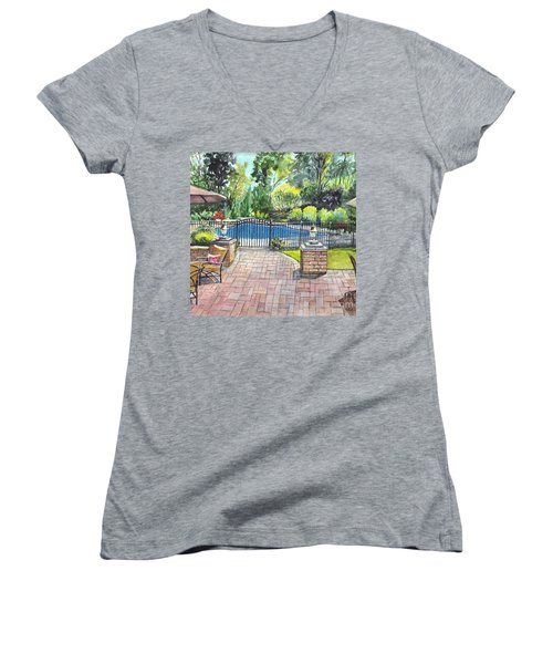 My Backyard Vacation Women's V-Neck T-Shirt (Junior Cut) by Carol Wisniewski