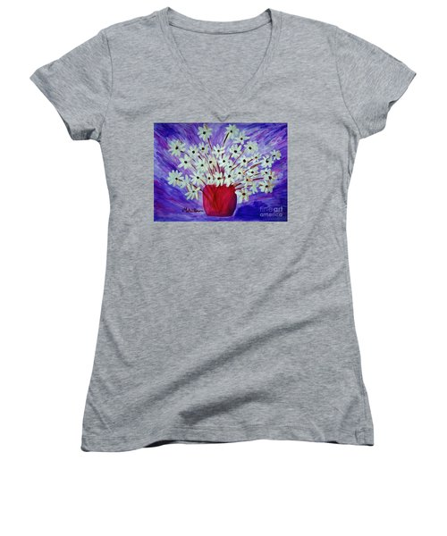 My Daisies Blue Version Women's V-Neck T-Shirt (Junior Cut) by Ramona Matei