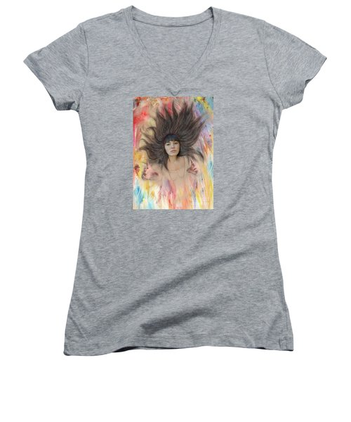 My Drawing Of A Beauty Coming Alive II Women's V-Neck T-Shirt (Junior Cut) by Jim Fitzpatrick