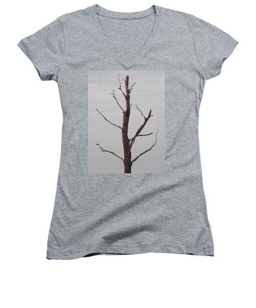 Women's V-Neck T-Shirt (Junior Cut) featuring the photograph Alzheimer's  Please Read Description by John Glass