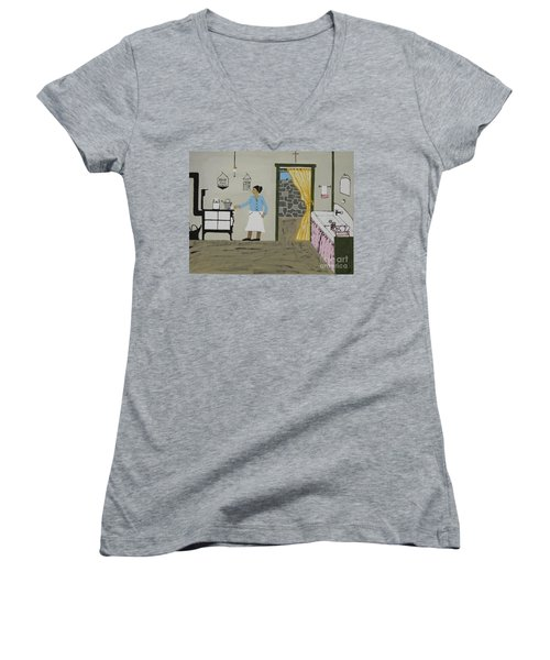 Women's V-Neck T-Shirt (Junior Cut) featuring the painting Coal Miners Wife by Jeffrey Koss