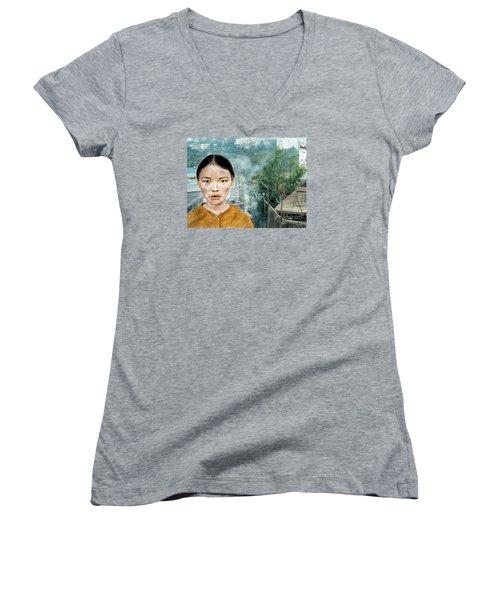 My Kuiama A Young Vietnamese Girl Version II Women's V-Neck T-Shirt (Junior Cut) by Jim Fitzpatrick