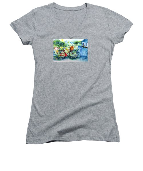 My Red Bicycle Women's V-Neck T-Shirt (Junior Cut) by Trudi Doyle