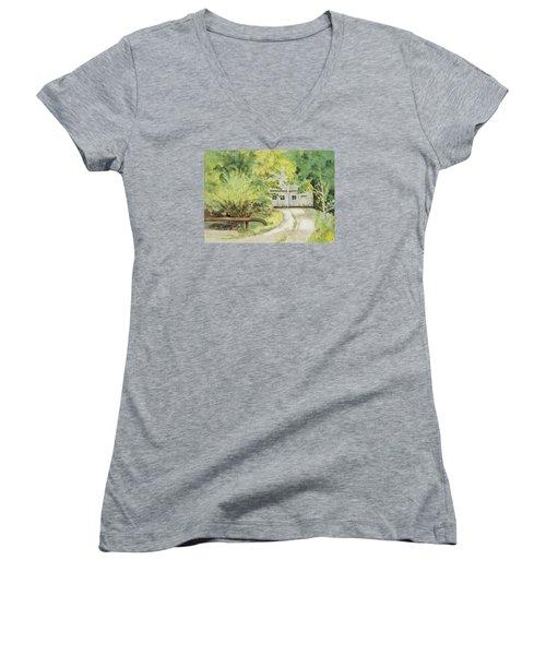 My Secret Hiding Place Women's V-Neck T-Shirt (Junior Cut) by Lee Beuther