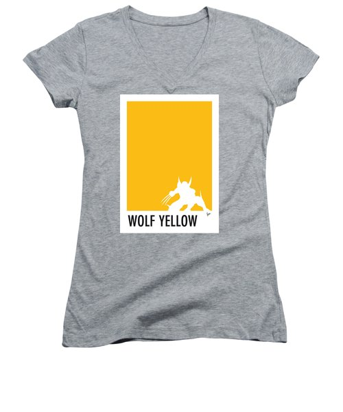 My Superhero 05 Wolf Yellow Minimal Poster Women's V-Neck