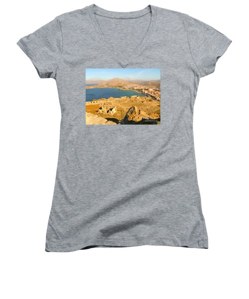 Women's V-Neck T-Shirt (Junior Cut) featuring the photograph My Toy Castle by Vicki Spindler