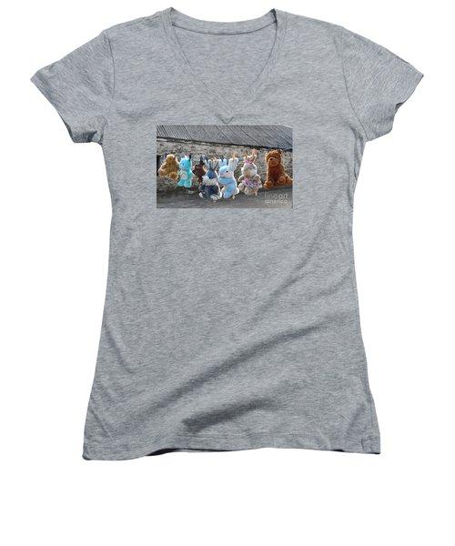 Toys On Washing Line Women's V-Neck T-Shirt (Junior Cut) by Nina Ficur Feenan