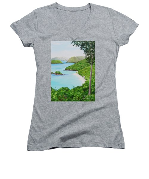 My Trunk Bay Women's V-Neck T-Shirt