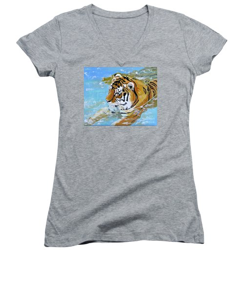 My Water Tiger Women's V-Neck T-Shirt (Junior Cut) by Phyllis Kaltenbach