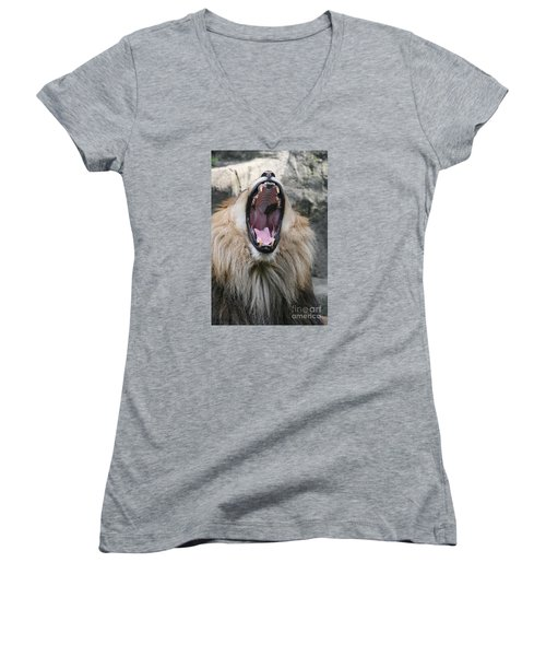 My What Big Teeth You Have Women's V-Neck T-Shirt (Junior Cut) by Judy Whitton